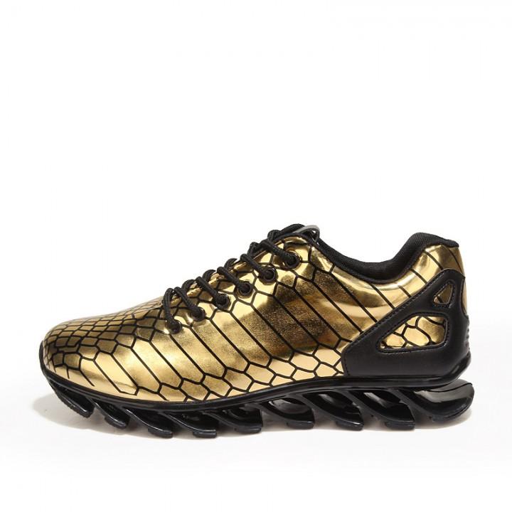 f92ac8fcf59a2 Lace Up Blade Movement Leisure Shoes Men's Breathable Shoes men reflective  Higher Spots Shoes Gold 41