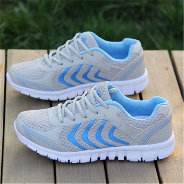 Net Surface Couples Running Shoes Breathable Lace-Up Sneaker Light Fitness Shoes sneaker Gray 42