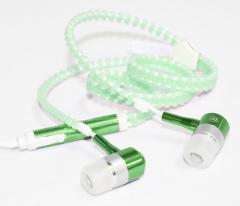 Universal Stereo 3.5mm in-Ear Earphone Earbuds Headphone with Mic Zipper Headset green