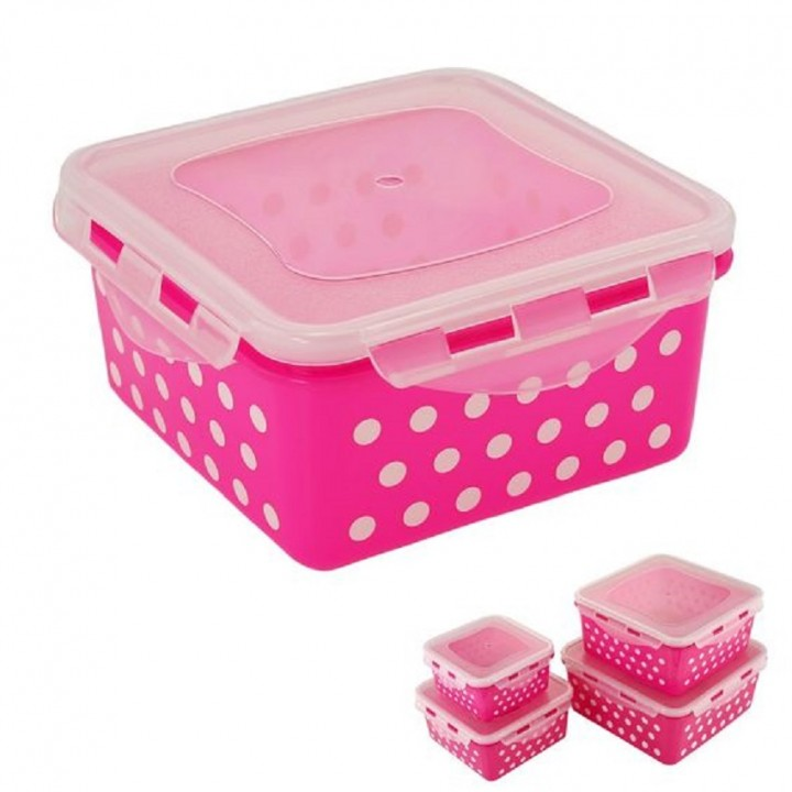Kilimall Locking Square Airtight Food Storage Container pink
