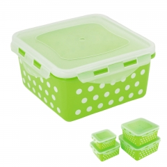 Locking Square Airtight Food Storage Container green polka dot lightweight