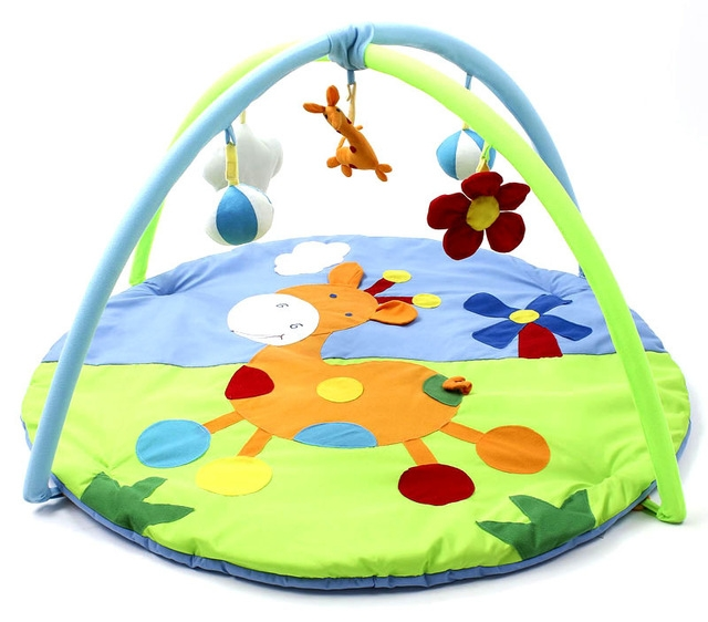 Soft Play Mat Cartoon Animal Gym Fitness Blanket - Colormix GREEN AND BLUE 56X49X10CM