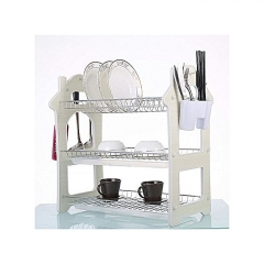 3Tier Stainless Steel Dish Drainer Drying Rack - White white one size