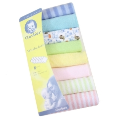 8Pcs Assorted colors Infant Newborn Bath Towel Washcloth Bathing Feeding Wipe Cloth Soft Multi colored one size