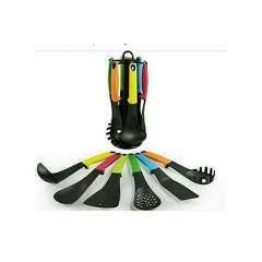 6 Piece Non-Stick Cooking Spoons Set - Coloured multi color 6 pieces