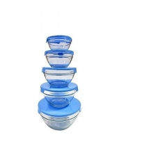 Set of 5 Fridge Storage Glass Bowls with Lid blue 5 pieces