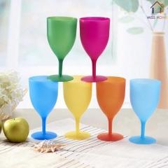Plastic Goblet Wine Pokal Wine Standing Cups Glasses BLUE PINK ORANGE GREEN YELLOW PINK 6 PCS