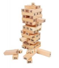 Jenga Wood Stack Up Game- Large brown 48 pcs