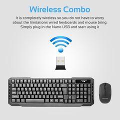PROMATE KEYMATE-4 Black 2.4Ghz Keyboard & Mouse Combo with soft silent keys & Wireless optical mouse Black Standard Size