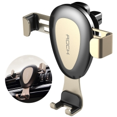 Universal Smarphones Gravity Car Vent Mount Metal Auto Air Outlet Phone Holder Stand,up to 6 inch golden one size