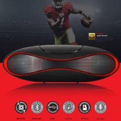 Football Bluetooth Speakers-Mobile music player-Outdoor Speakers-TF USB Portable Speakers Subwoofer- Black&Red 21*6.7cm