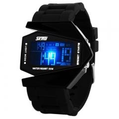 LED Digital Bracelet Watch Sport Waterproof Silicone Strap Wristwatch for Men Children Boys watch Black 7 LED Colorfull Ligh