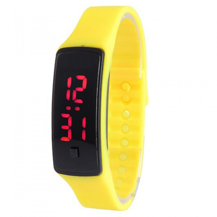 LED Digital Bracelet Watch Sport Silicone Strap Wristwatch for Men Women Children Gift Smart watch Yellow 170mm-288mm