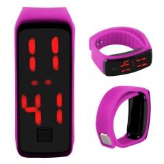 LED Digital Bracelet Watch Sport Silicone Strap Wristwatch for Men Women Children Gift Smart watch Rose Red 170mm-288mm