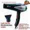 Hairdryer Househould Hair Dryer Blow Hot And Cold Wind + 1 Free Nozzles Styling Tools With UK Plug Black and Gray as picture