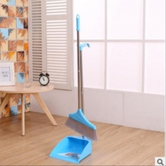 Detachable Folding Broom Dustpan Set Combination blue as picture
