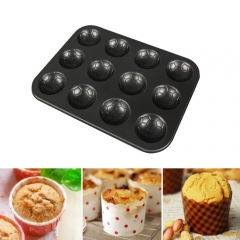 MUFFIN BAKING TRAY 12 CUP FOOTBALL PATTERN Black
