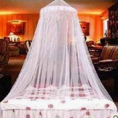 Jumbo Hanging Circular Screen Netting Mosquito Net with Tear Resistant Loop for Bed Queen Size White white 2M