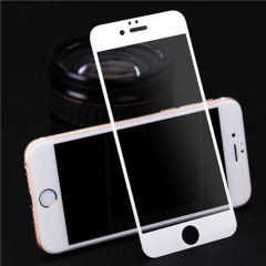 Full Coverage 3D Tempered Glass Metal Screen Protector Film for iPhone 6 6S White 5.6*5.6cm