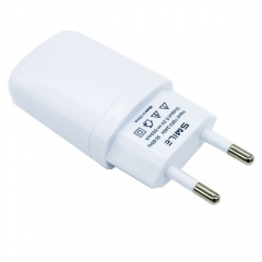1A Power Adapter USB Charging Head Round Foot Plug Adapter for Mobile Phone Tablet EU Plug White 8.5*4*2cm