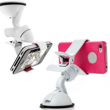 360°Rotating Car Holder Windshield Mount Bracket Stand for Mobile Cell Phone GPS White 1.5*4.5*6.8cm