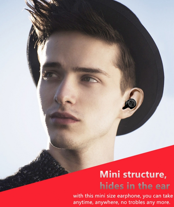 Mini Bluetooth Headset Wireless Bluetooth Earphone Music Earbuds with Microphone for iPhone Samsung Back
