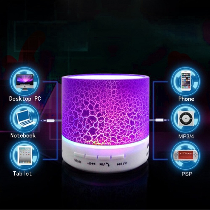 Portable Mini Bluetooth Speakers LED Wireless Small Stereo Sound Music Audio TF USB Light Speaker Pink for Smartphone