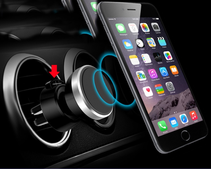 Universal Magnetic Car Phone Holder 360 Degree Rotatable Car Air Vent Outlet Mount for Phone Silver for Phone