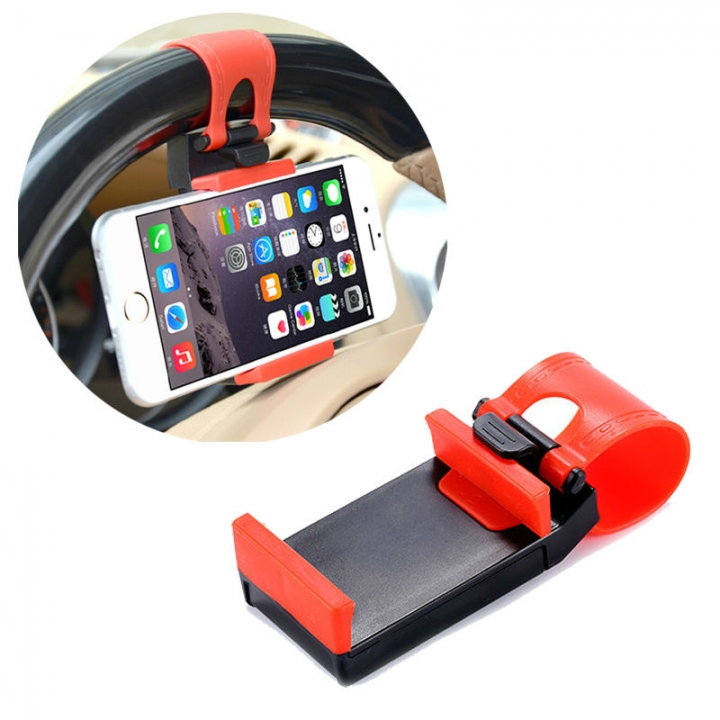 Cellphone Holder Car Steering Wheel Mount  Pad Adjustable Holder with Clip for 55mm-85mm Devices Red with Black 1.5*4.5*5.5cm
