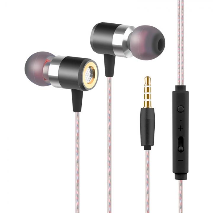 Running Stereo Bass Earphone Metal In-ear Headphone Sports Headset With Mic Black