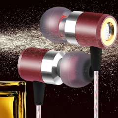 Bass Running Headphones Metal In-ear Headphone In-line Control Earphone with Microphone for MP3 Wine Red
