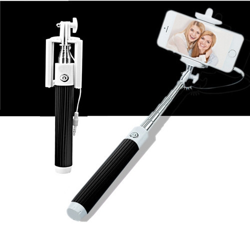 Universal Mini Extendable Selfie Stick Wired Selfies Self-Pole Artifact Selfiepod Black for Phone