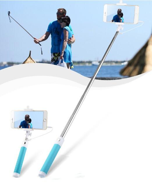 Universal Mini Extendable Selfie Stick Wired Selfies Self-Pole Artifact Selfiepod Blue for Phone