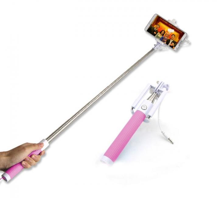 Universal Mini Extendable Selfie Stick Wired Selfies Self-Pole Artifact Selfiepod Pink for Phone