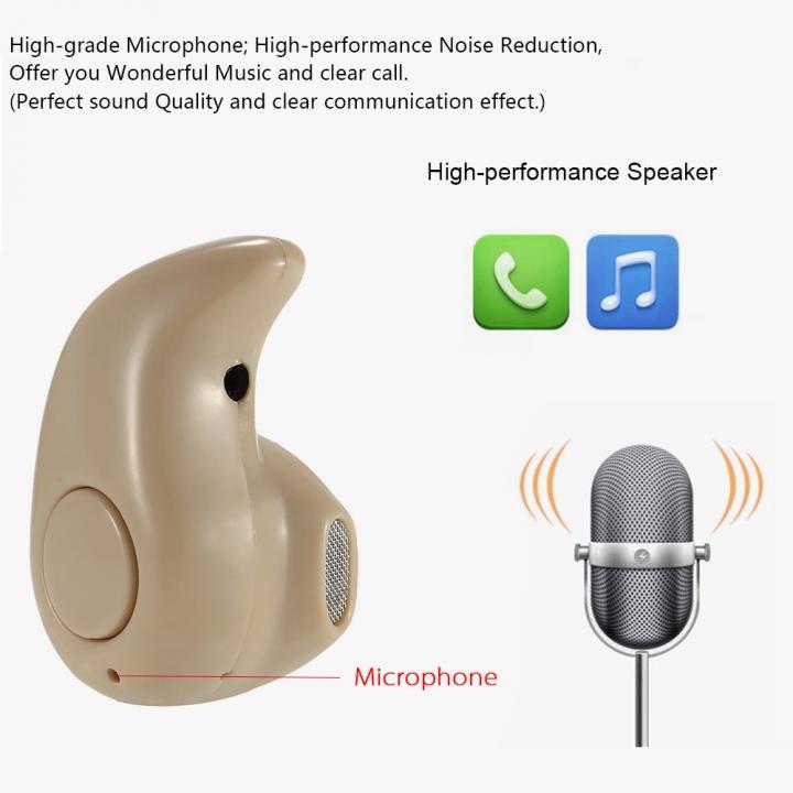 Mini Bluetooth Earphone Wireless Invidible Stereo Bluetooth Earphone Earbuds Bluetooth Headset Beige