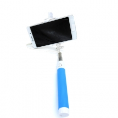 Foldable Telescopic Cable Selfie Stick With Rearview Mirror Wired Remote Shutter Monopod For Phones Blue normal