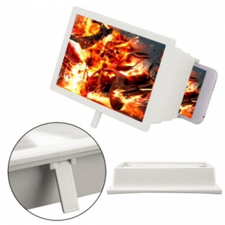 Universal Foldable Mobile Phone 3D Screen Magnifier With Video Enlarge Stand Holder White