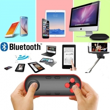 Wireless Bluetooth VR Remote Controller Gamepad Joypad With Selfie Suit Android iOS PC System black