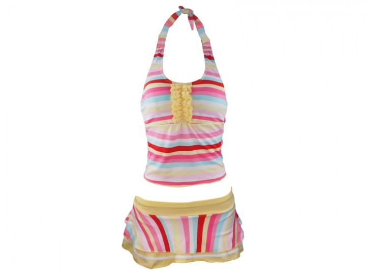 Ladies Swimming Costume yellow/pink colored Small