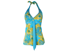Flowered Ladies Swimming Costume yellow/lightblue Small