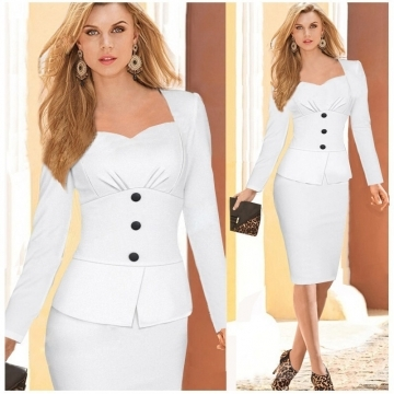 Fashion Long Sleeve Patchwork Dress Work Style Uniform Formal Pencil Dress Sexy Dresses white s white xl