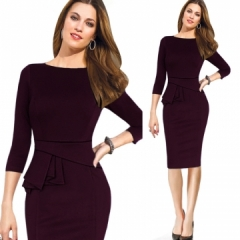 Fashion Patchwork Long Sleeve Dress Work Style Uniform Formal Pencil Dress Sexy Dresses dark red s white m
