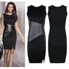 Fashion Leather Patchwork Dress Work Style Uniform Formal Pencil Dress Casual Dresses black s white m