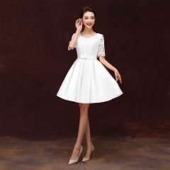New High Quality Lace Appliqued Bridesmaid Dress white us 4 white m