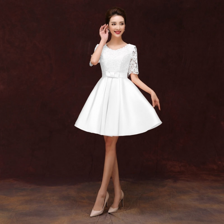 New High Quality Lace Appliqued Bridesmaid Dress white us 4 white xl