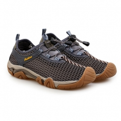 Men outdoor sports leisure breathable mesh men 's climbing network shoes Gray 44