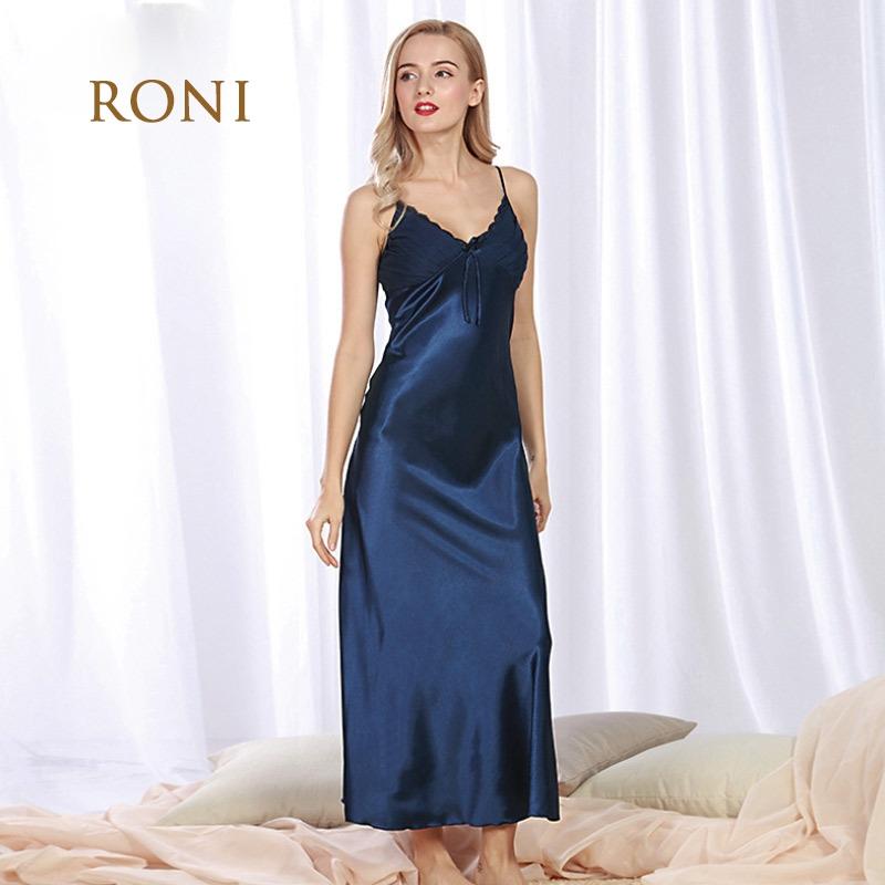 RONI Ladies imitation silk pajamas women sexy Sling nightie large code home  dress dark blue m  Product No  1427652. Item specifics  Brand  RONI b3ce069e0