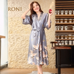 RONI Ladies imitation silk robe red-crowned Crane printed pajamas bride  pajamas. gray m