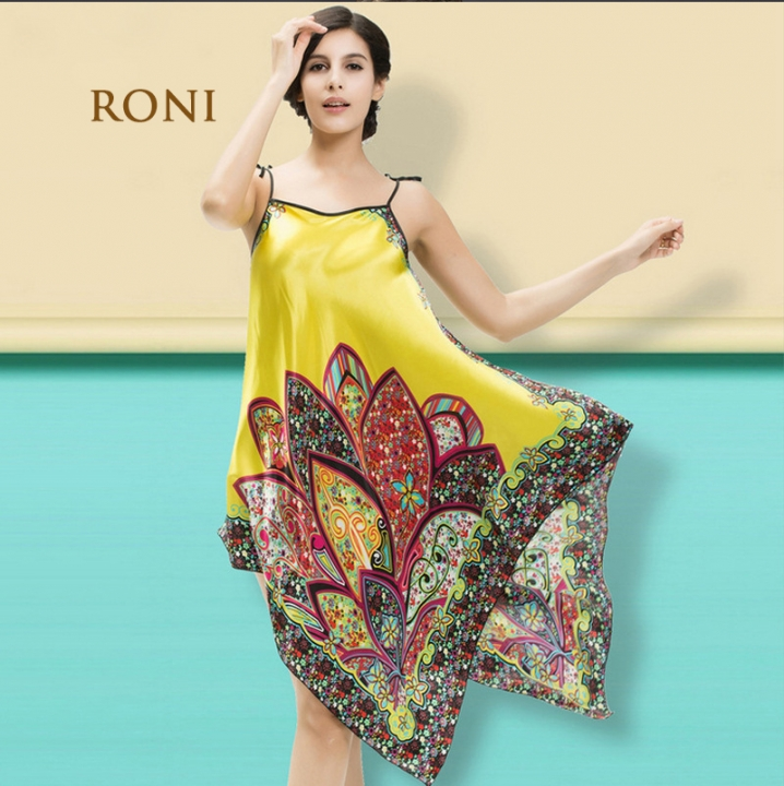 4dbf86a5d14f RONI Lady imitation silk pajamas women sexy home clothes girl national  style home clothes yellow all