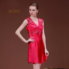 RONI Lady imitation silk pajamas women sexy dress home clothes red m
